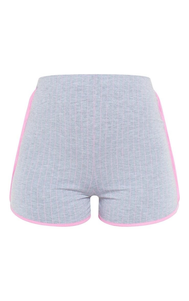 Grey Pinstripe Contrast Binding Runner Short  3