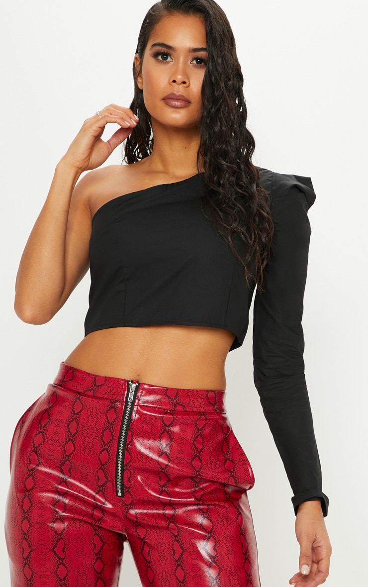 Black One Shoulder Crop Shirt