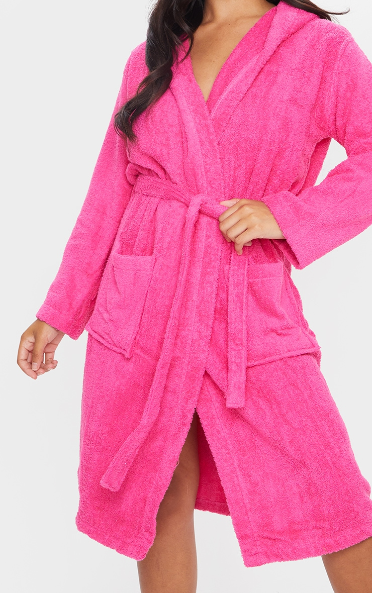 Hot Pink Towelled Hooded Dressing Gown 4
