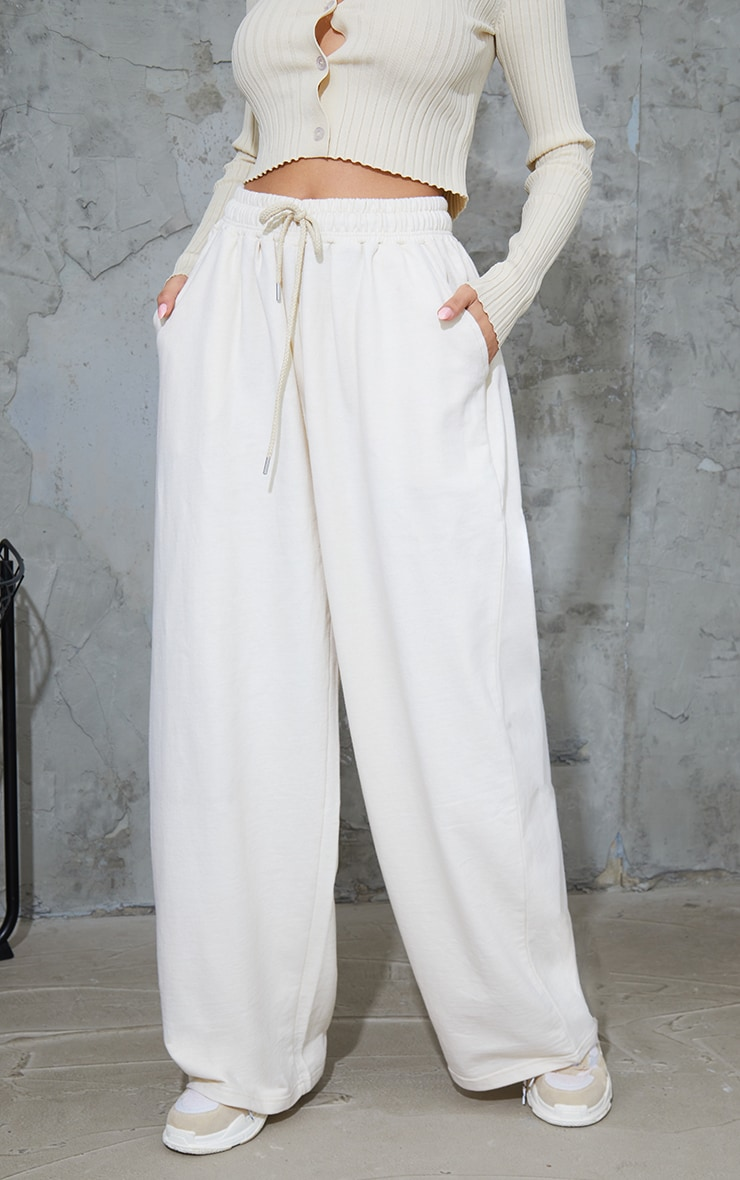 Cream Drawstring Slouch Wide Leg Trousers 2
