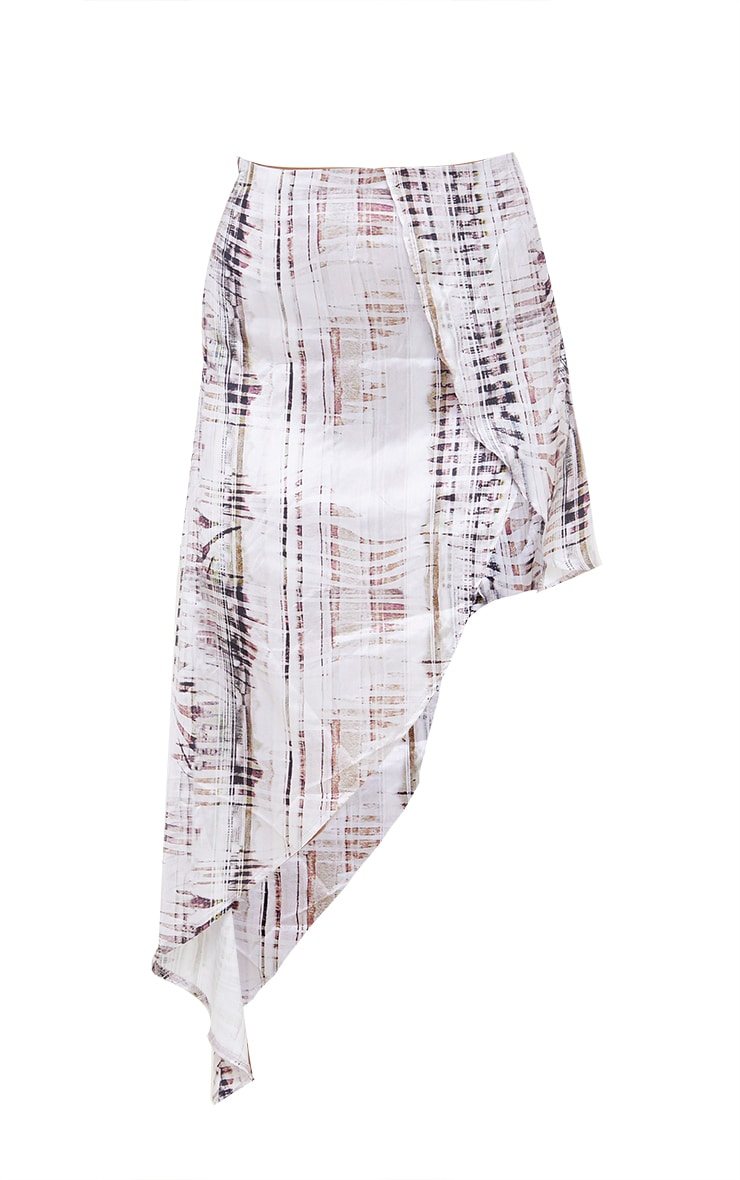 Stone Abstract Print Satin Asymmetric Skirt 6