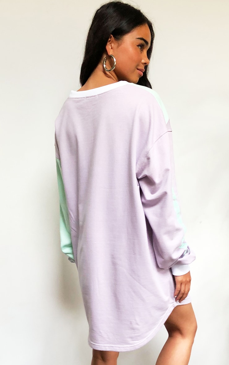 Lilac Asymmetric Colour Block Sweater Dress 2