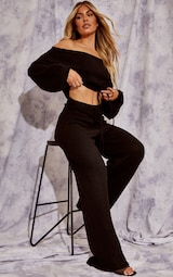 Recycled Black Knitted Wide Leg Pants 1