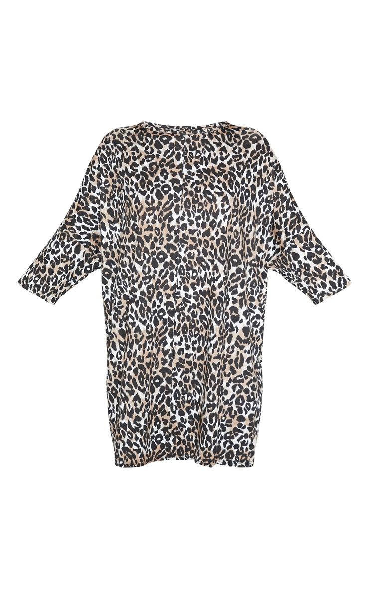 Brown Leopard Print Oversized Batwing T Shirt Dress 3