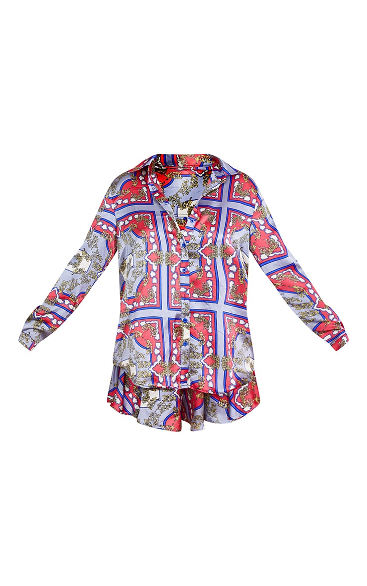Red Scarf Print Oversized Button Front Shirt 5