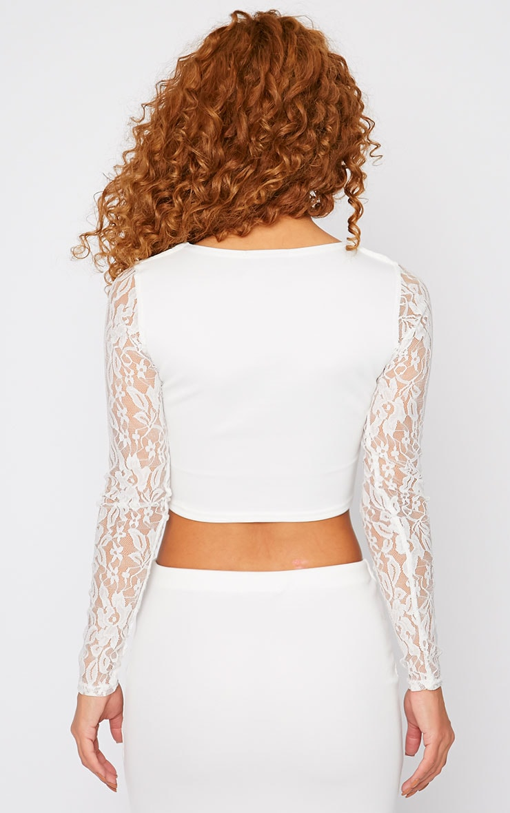 Danita Cream Lace Sweetheart Plunge Crop Top  2