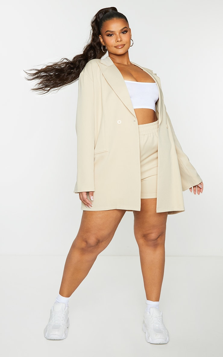 Plus Stone Relaxed Oversized Blazer 3