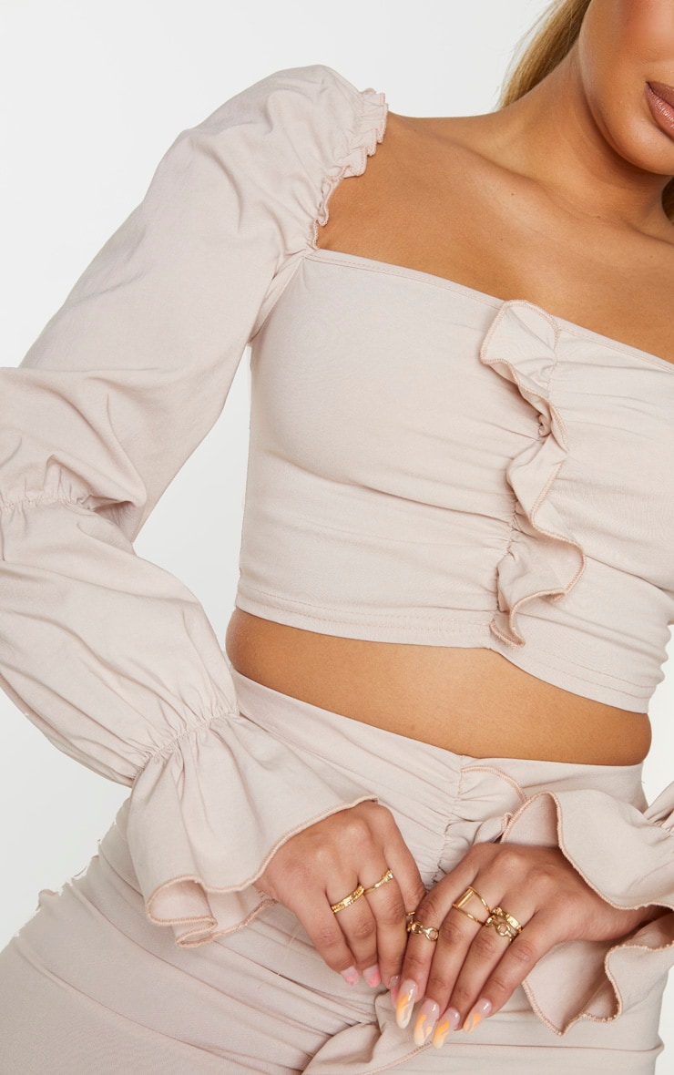 Nude Woven Stretch Front Long Frill Ruched Sleeve Crop Top 4