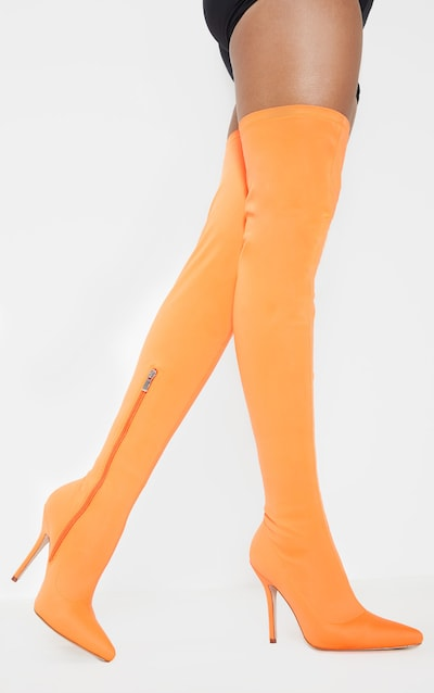 c0a9d35c72c Neon Orange Thigh High Sock Boot