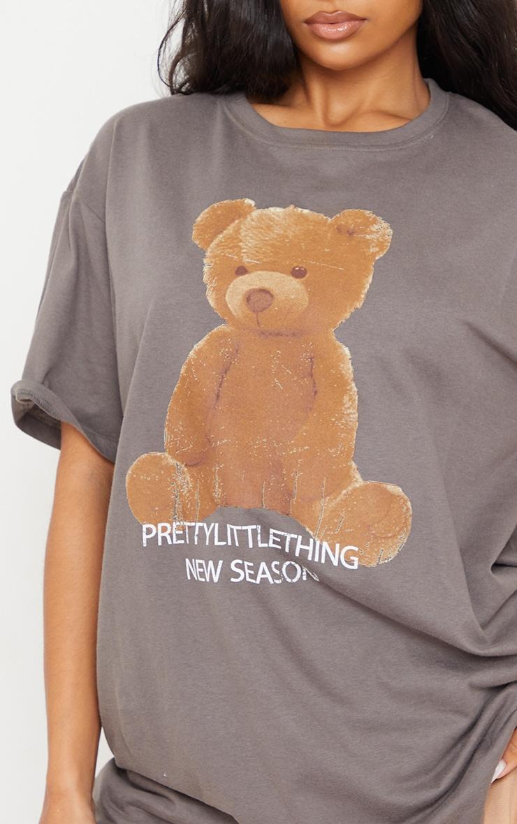 PRETTYLITTLETHING Charcoal Teddy Bear T Shirt 4