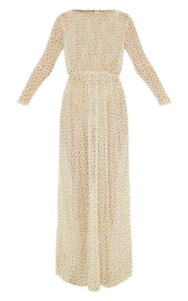 Yellow Ditsy Daisy Long Sleeve Maxi Beach Dress 4