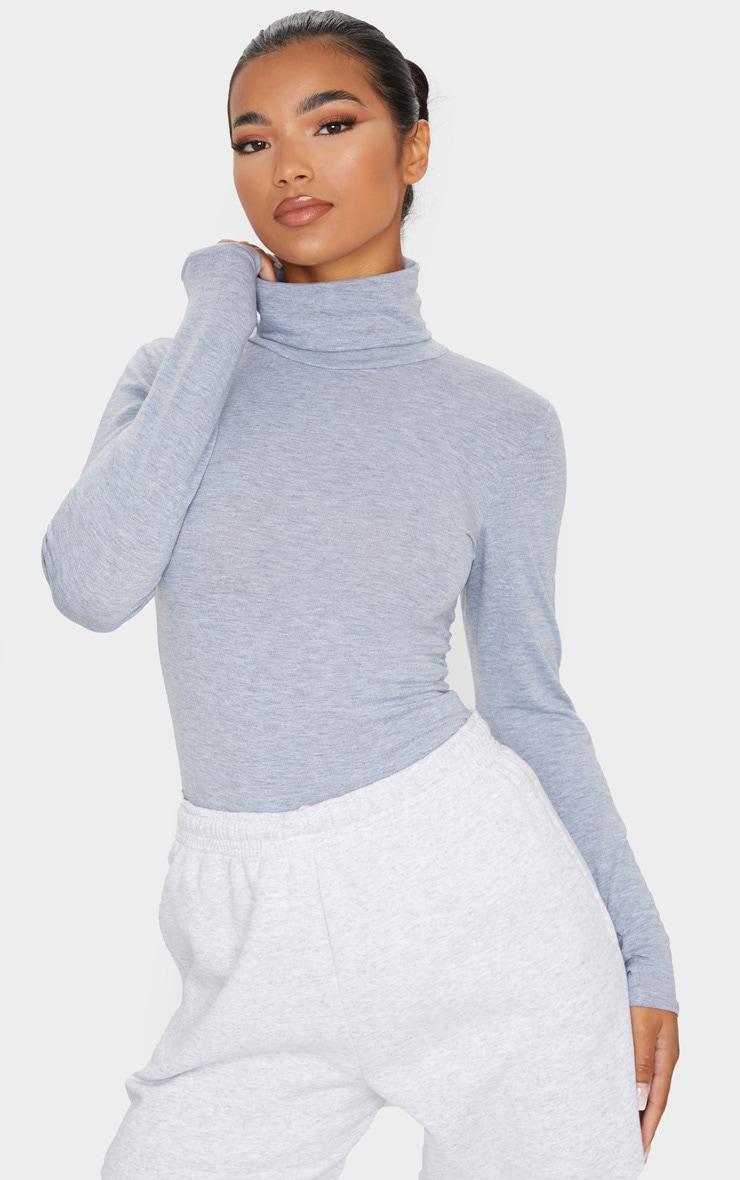 Basic Grey Marl Cotton Blend Roll Neck Bodysuit 1