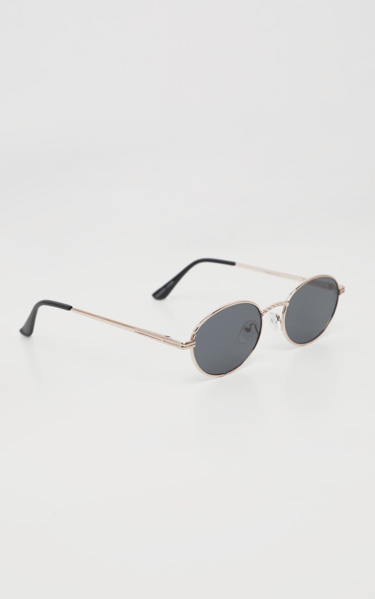 Black Oval Retro Style Sunglasses 3