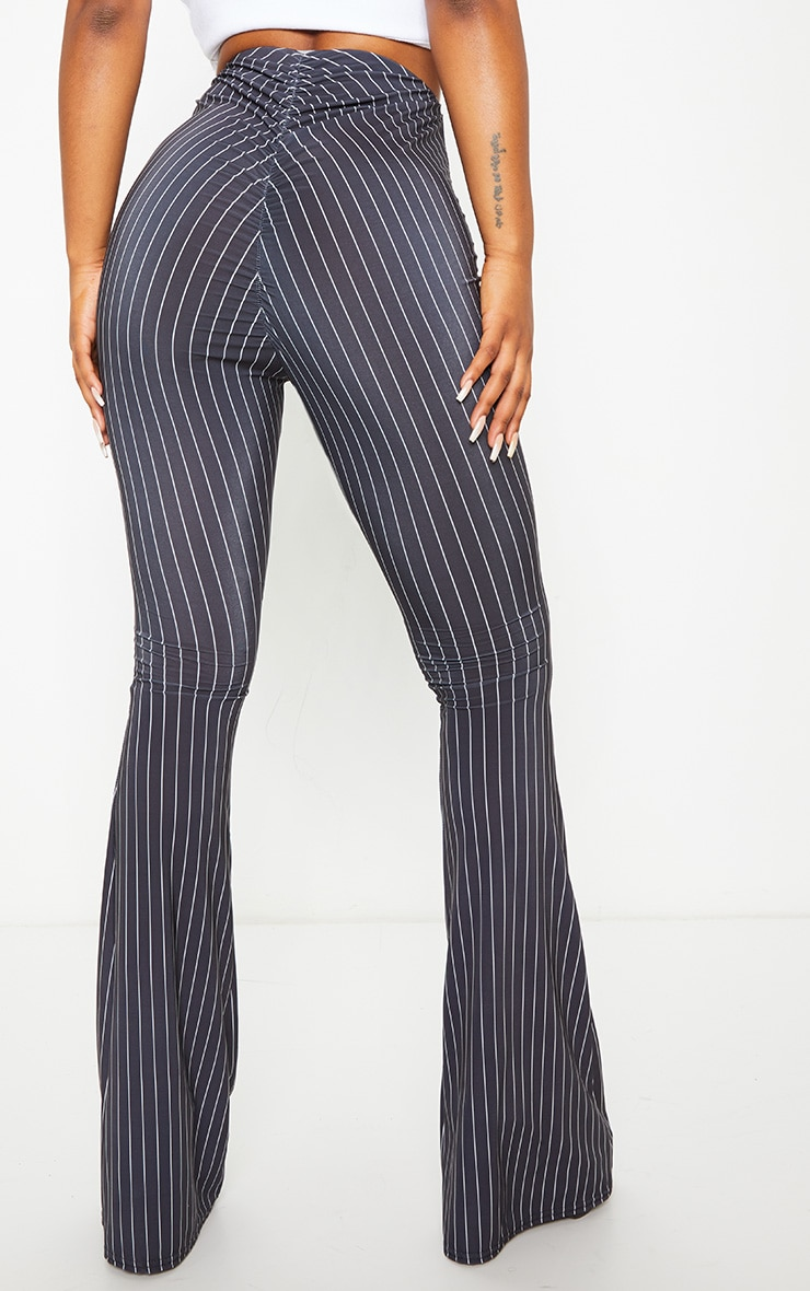 Black Pinstripe Ruched Bum Slinky Flared Trousers 3