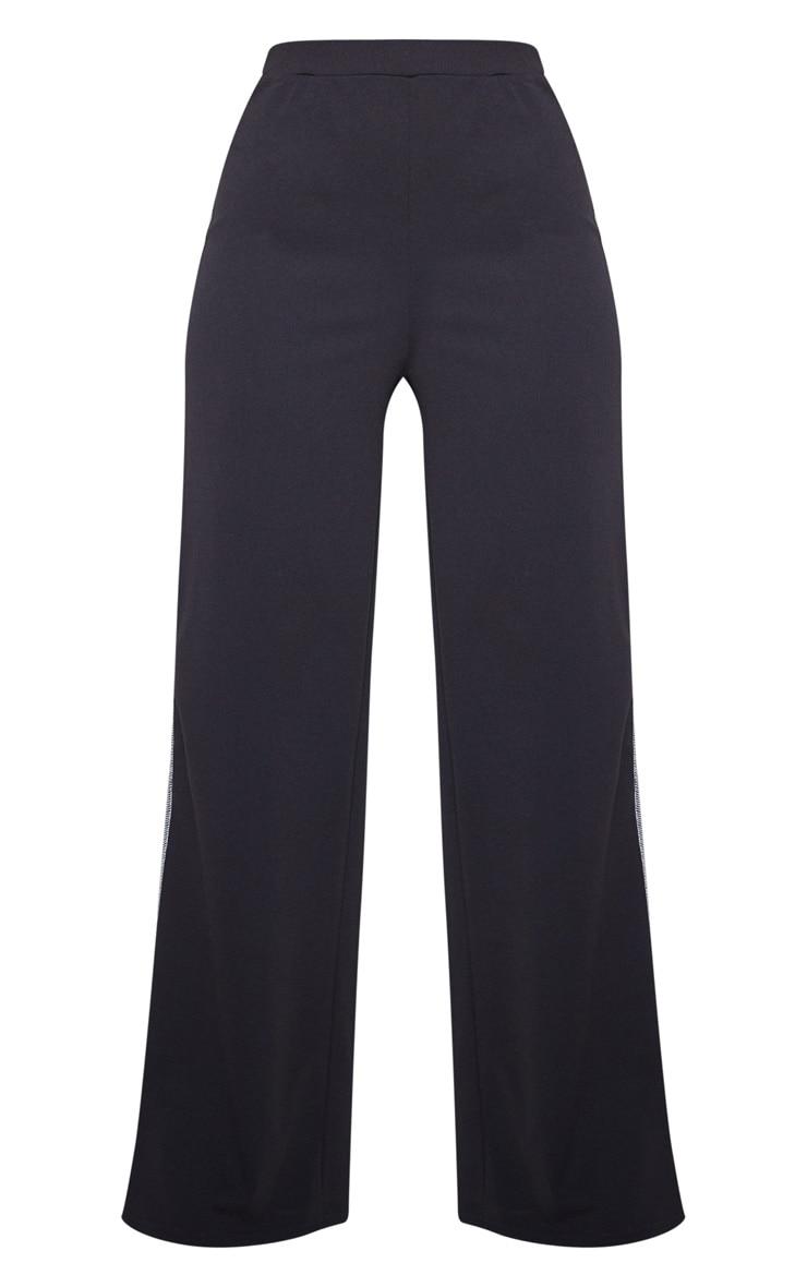 Black Crepe Contrast Stitch Wide Leg Pants 3