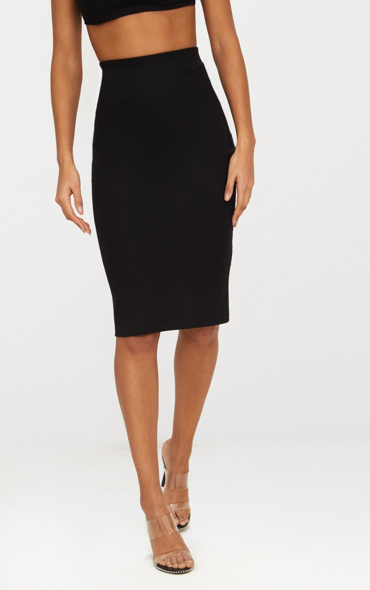 Black Second Skin Bodycon Midi Skirt 2