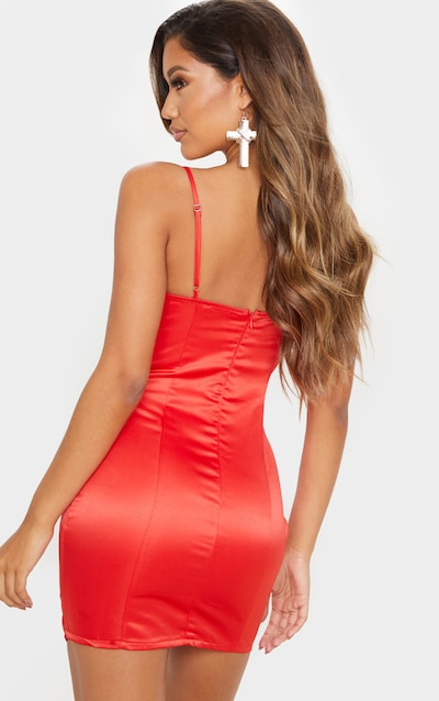 Red Satin Lace Insert Cup Detail Bodycon Dress
