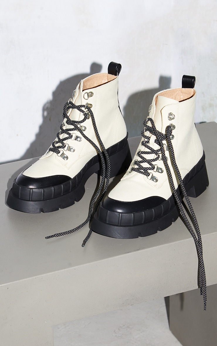 Cream Canvas Round Toe Cap Hiker Lace Ankle Boots 3