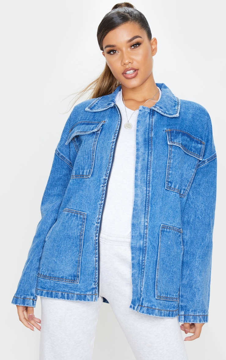 Mid Wash Oversized Boyfriend Trucker Denim Jacket 1