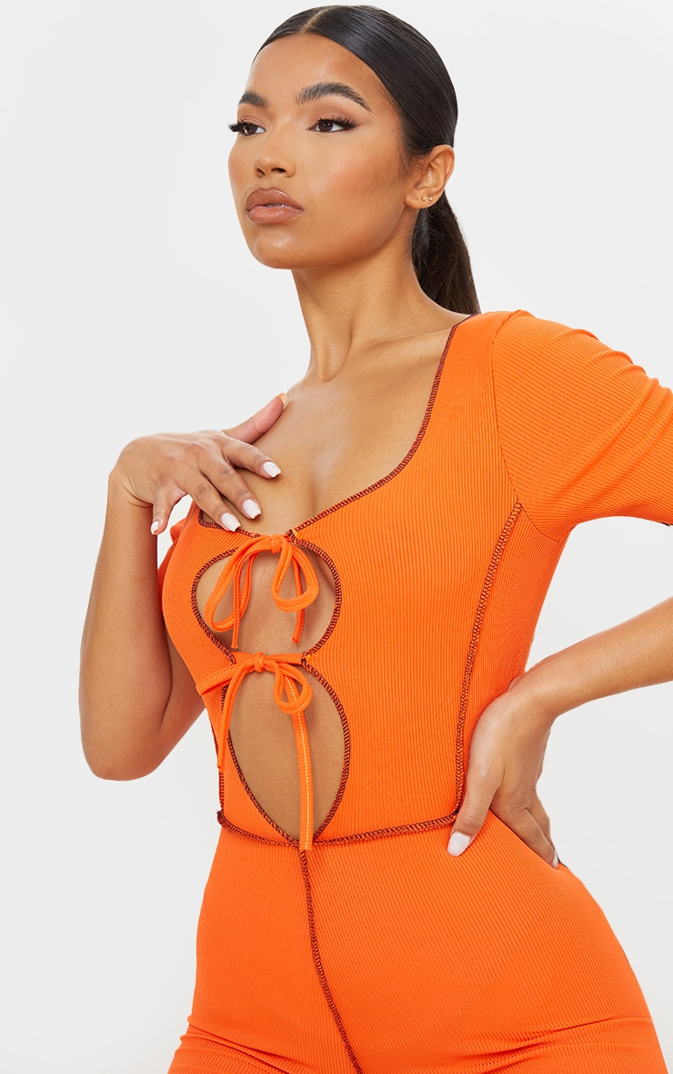 Orange Tie Front Contrast Seam Short Sleeve Jumpsuit 4