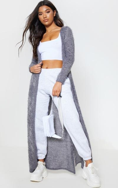 31021a41549 Grey Eyelash Knit Maxi Cardigan