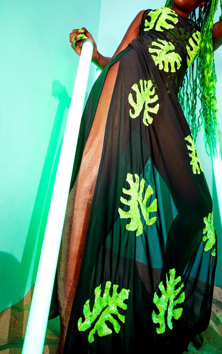 Black Maxi Palm Sequin Beach Dress 4