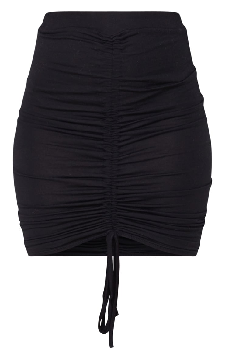 Black Jersey Ruched Front Detail Mini Skirt 3