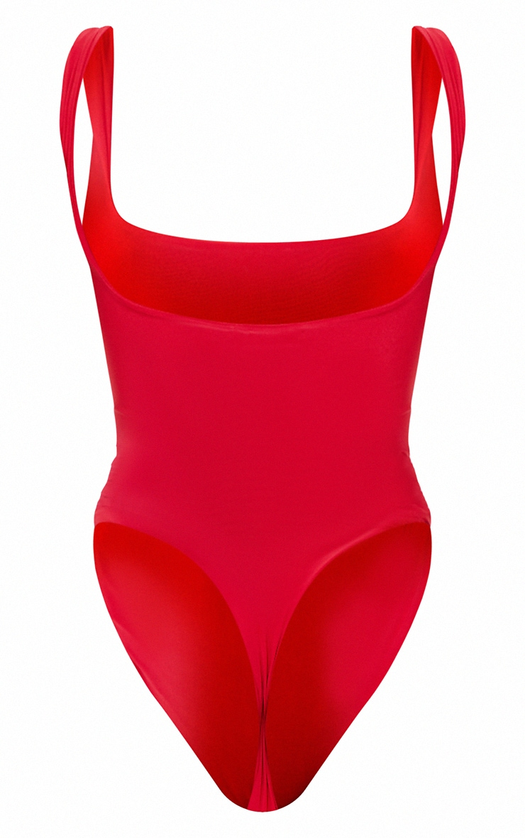 Red Second Skin Square Neck Sleeveless Thong Bodysuit 6