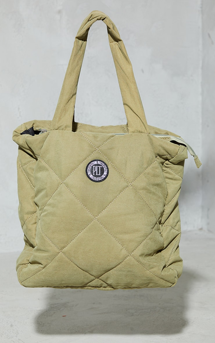 PRETTYLITTLETHING Olive Badge Quilted Tote Bag 2