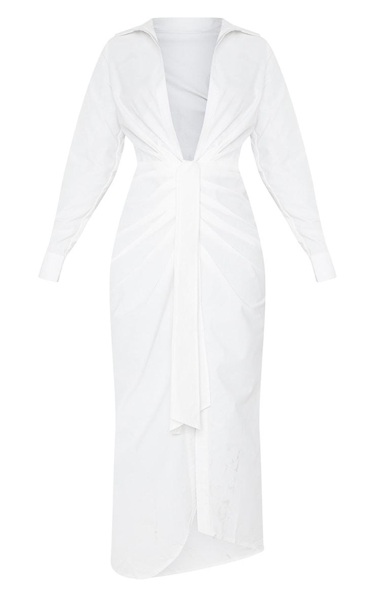 White Long Sleeve Plunge Drape Detail Midi Shirt Dress 5