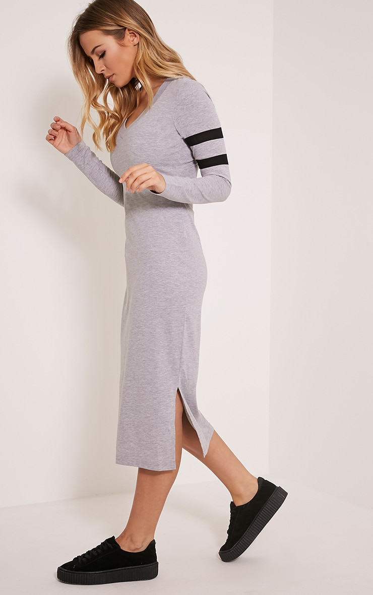 Catherine Grey Long Sleeve Mesh Stripe Detail Midi Dress 1