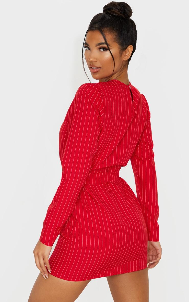 Red Long Sleeve Pinstripe Belt T Shirt Dress 2