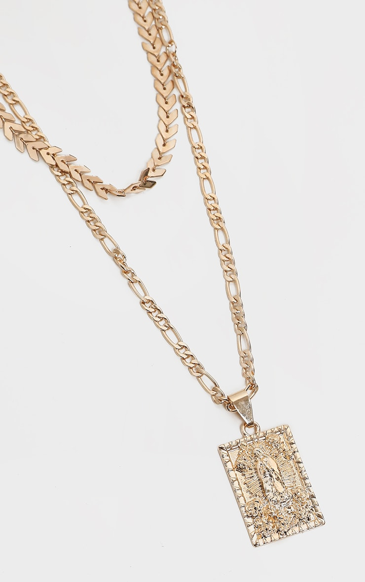 Gold Double Layer Renaissance Layering Necklace 4