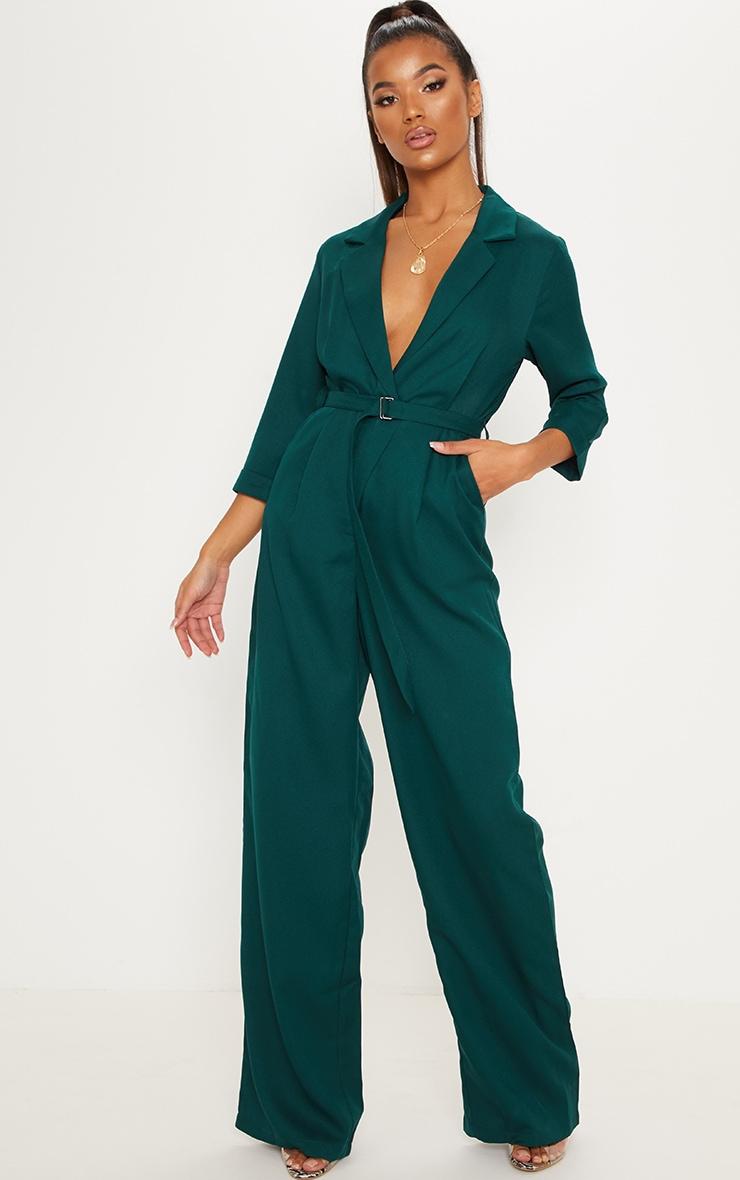 Emerald Green Woven Plunge Wide Leg Jumpsuit 1