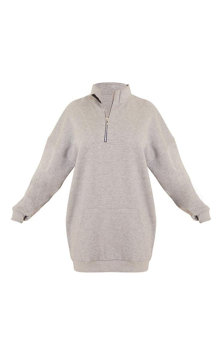 Grey Double Collar Zip Up Oversized Sweat Jumper Dress 5