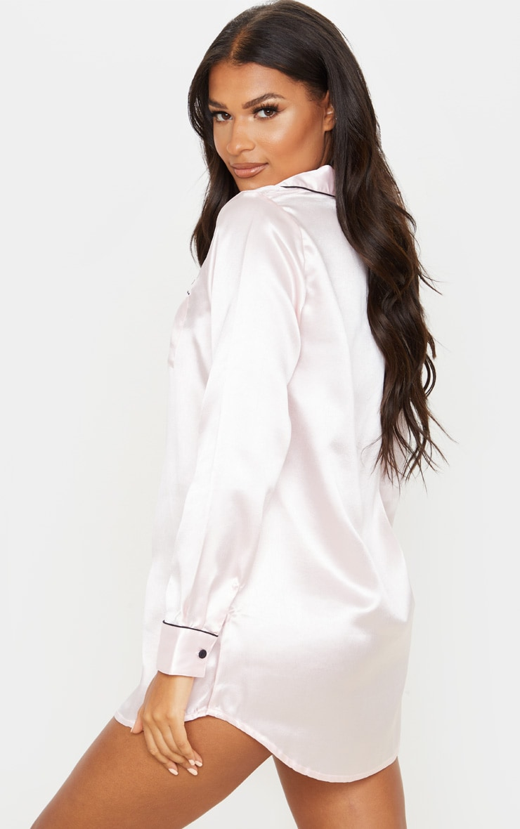 PRETTYLITTLETHING Light Pink Embroidered Satin Nightshirt 2