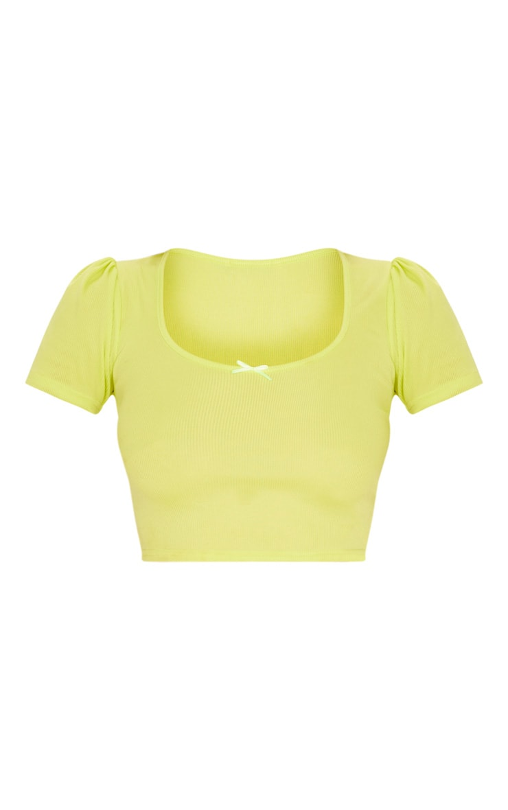 Lime Rib Bow Puff Sleeve Crop Top 3