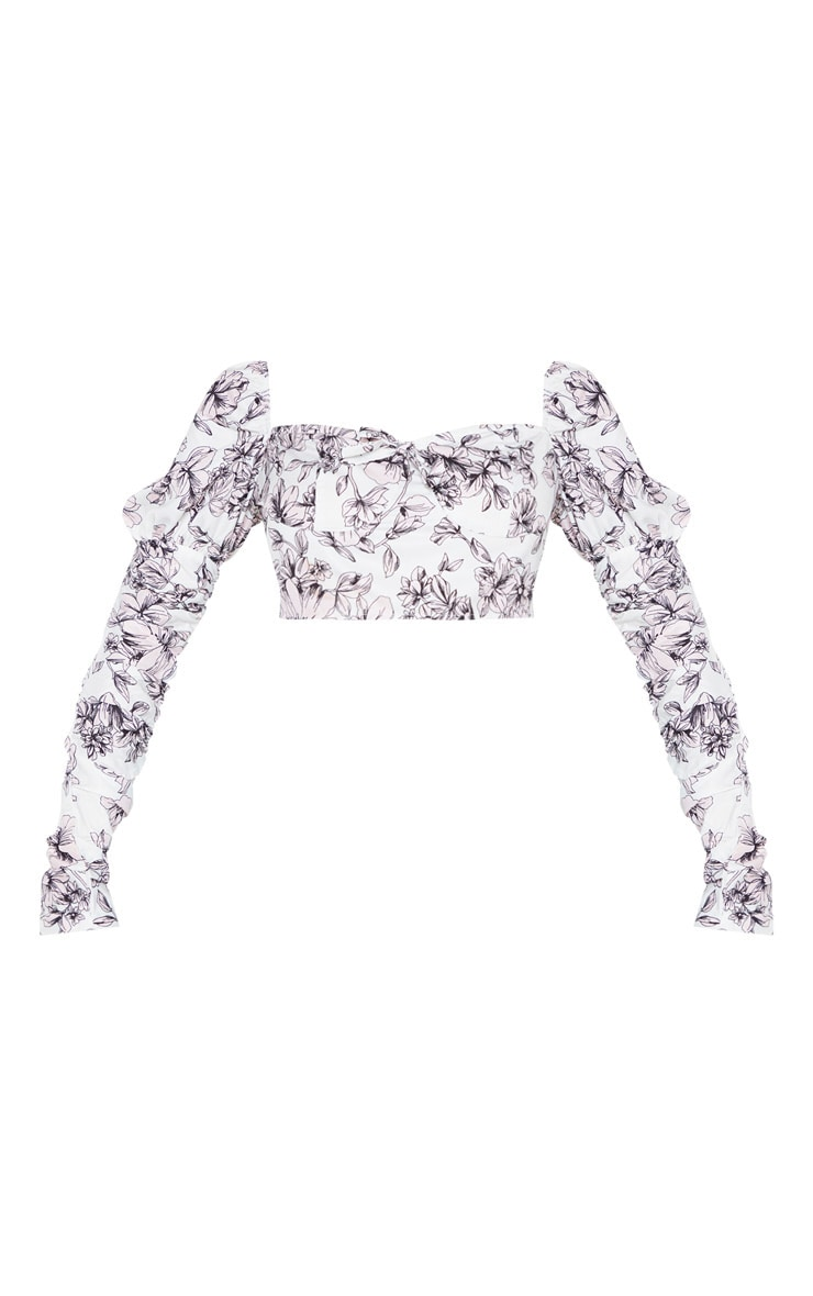 White Floral Printed Ruched Sleeve Crop Top 3