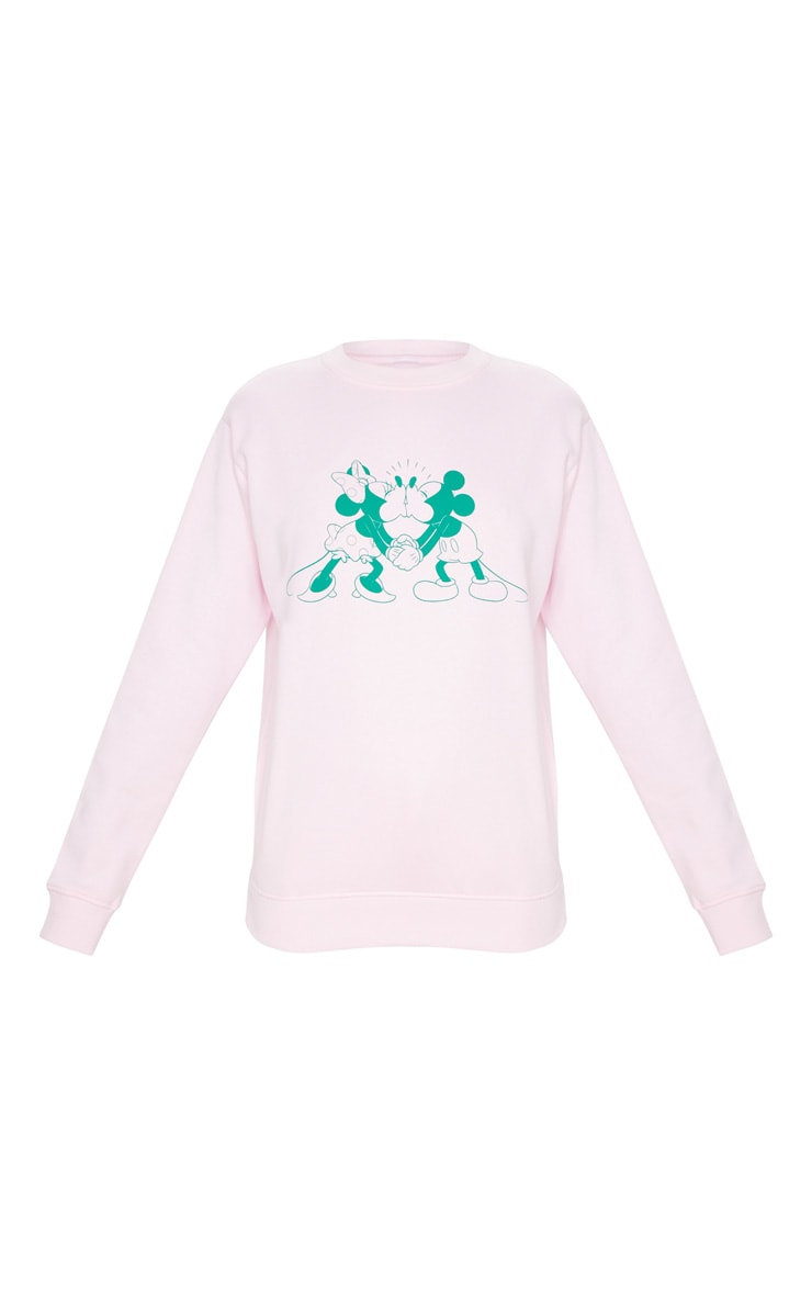 Pink Mickey And Minnie Printed Sweatshirt 5