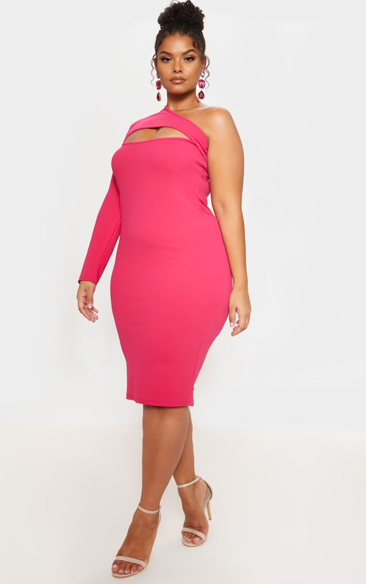Bright Pink One Shoulder Midi Dress 5