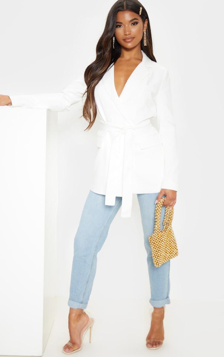 Rebecca Cream Belted Suit Blazer 4