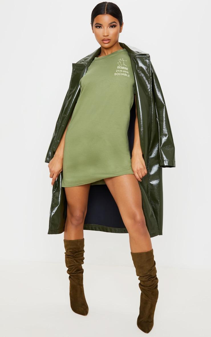 Khaki Gemini Definition Slogan T Shirt Dress  1