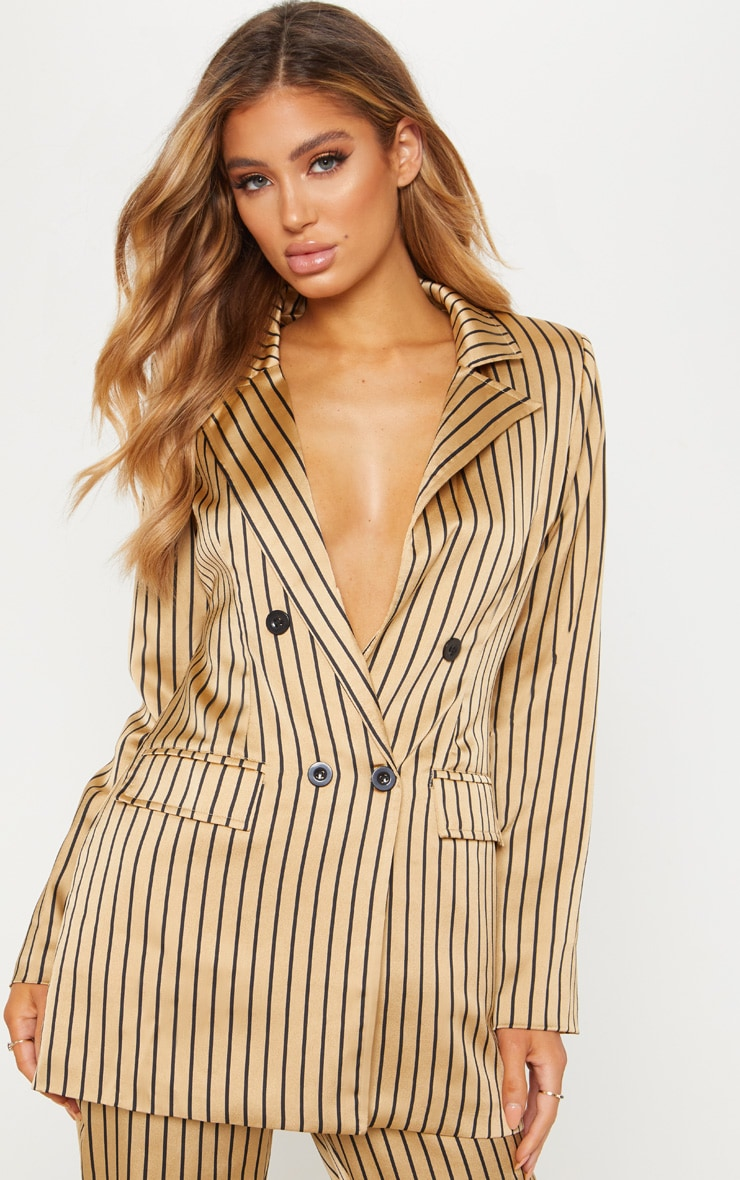 Stone Satin Pin Stripe Double Breasted Blazer  4