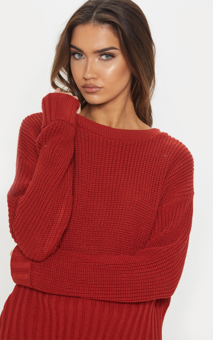 Rust Ribbed Hem Knitted Sweater  5