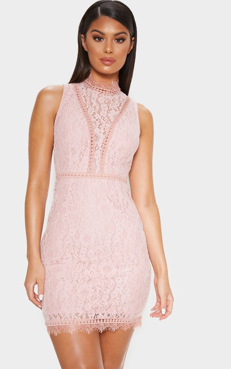 Dusty Pink Lace Open Back Bodycon Dress 2