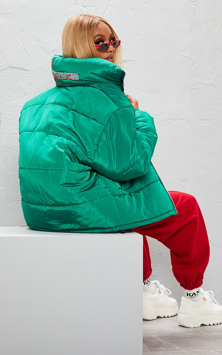 KARL KANI Green Embroidered Puffa Jacket 4