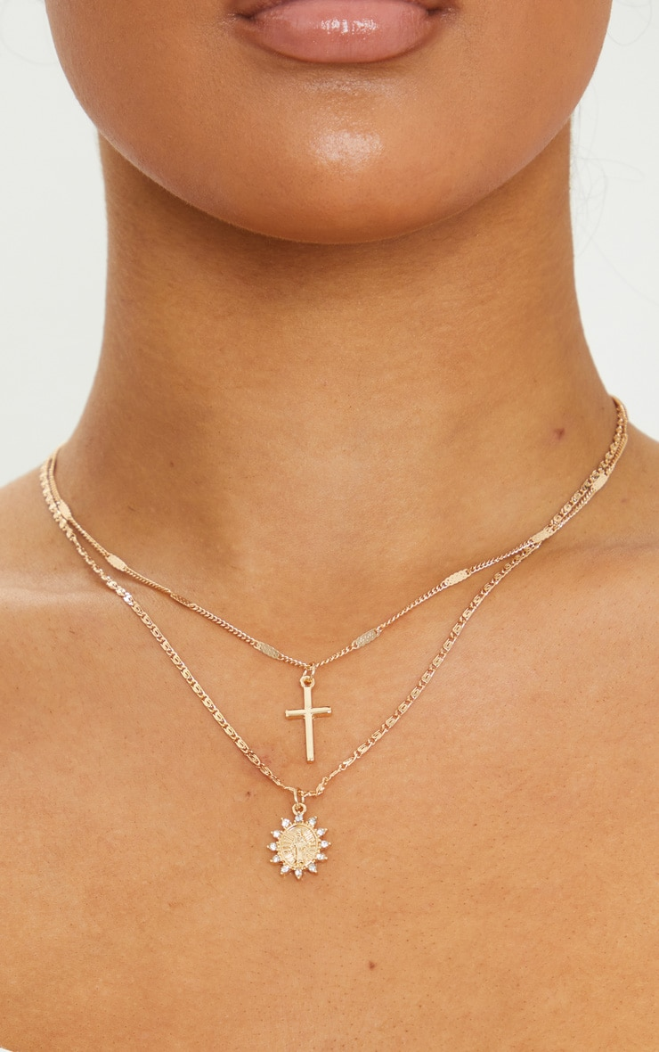 Gold Cross And Renaissance Charm Delicate Layering Necklace 2
