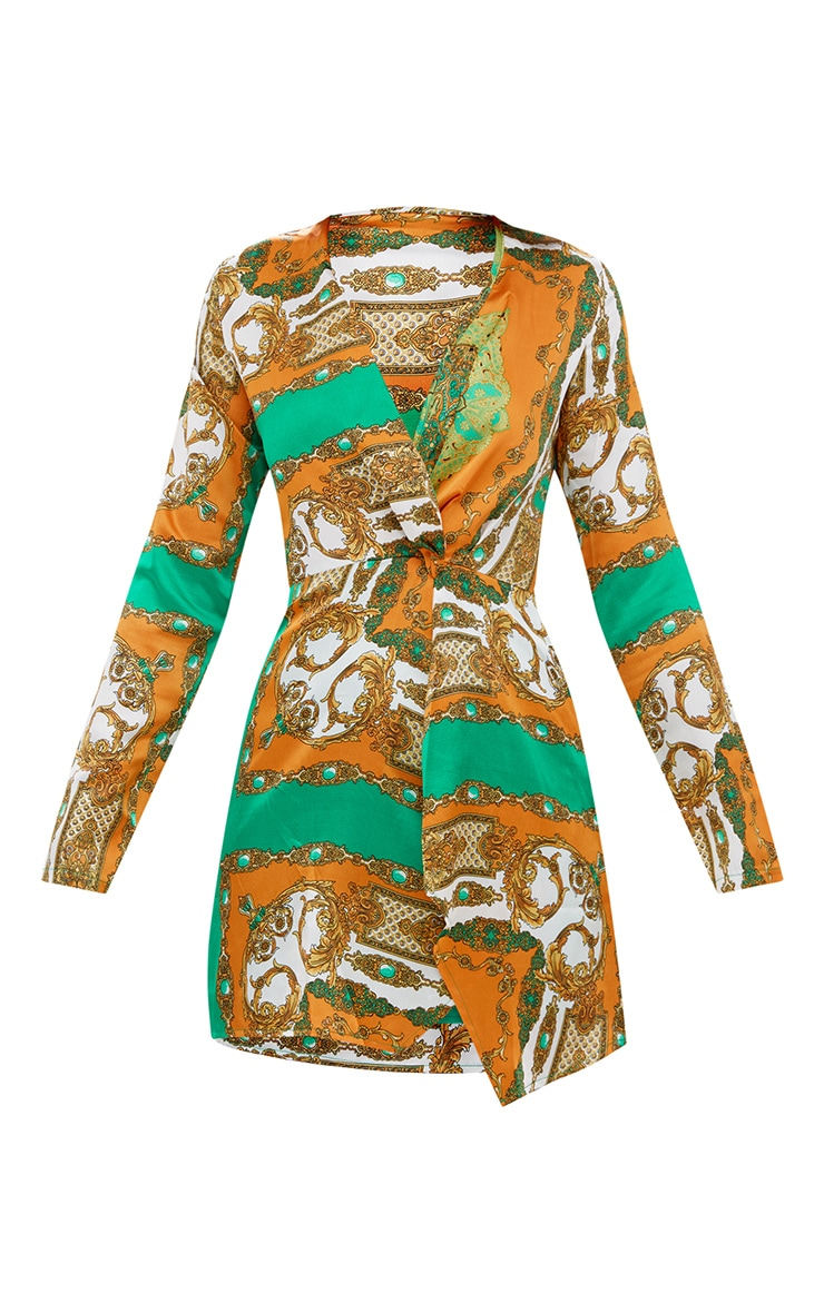 Orange Silky Long Sleeve Wrap Dress 3