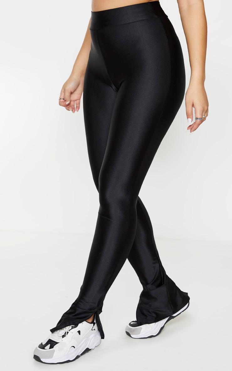 Black Zip Hem Disco Leggings 2