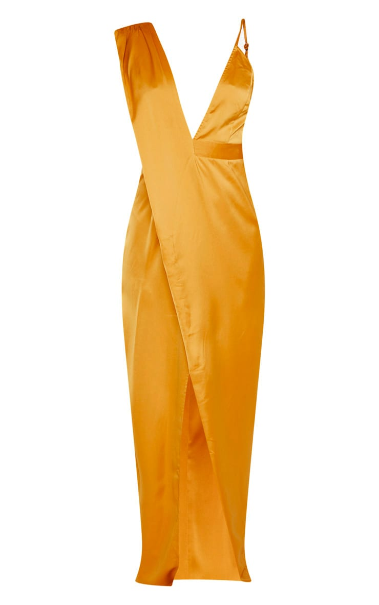 Mustard Asymmetric Drape Detail Maxi Dress 3